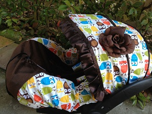 Baby Owl Infant Car Seat Cover, 100% cotton.