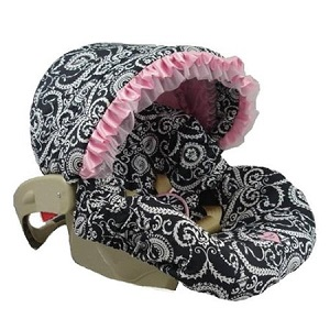 Baby Bella Maya Infant Car Seat Cover  Mid Summer Dream with Pink lining and ruffle.