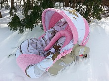 Baby Car Seat Cover Camo with Pink Minky